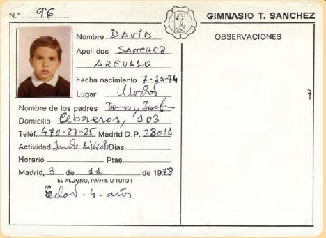 ficha de inscripcion de ingreso en el dojo de David Sanchez 3 11 1978