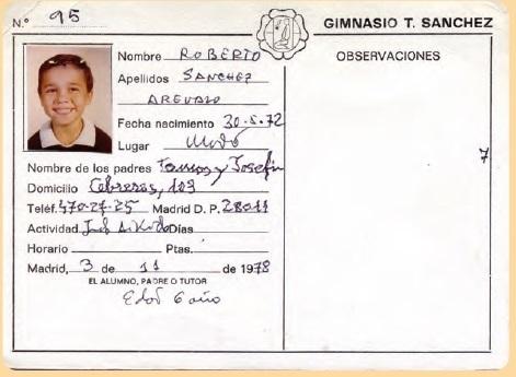 ficha de inscripcion de ingreso en el dojo de Roberto Sanchez 3 11 1978