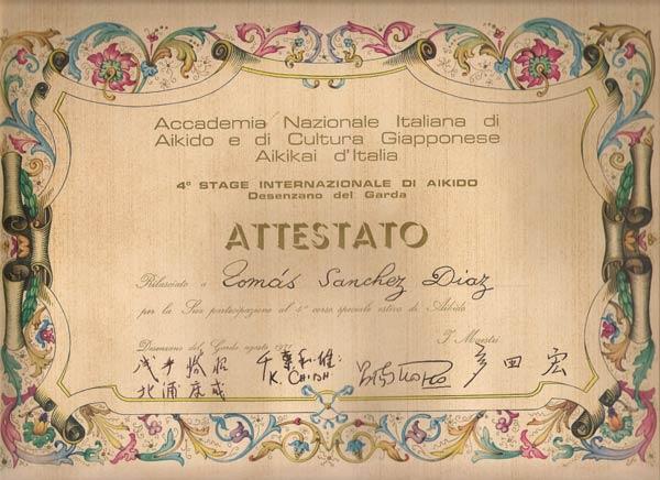 10 de Agosto 1971 Diploma Asistencia Curso Italia 1971